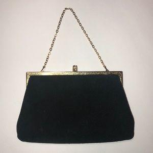 Black Suede 1950s Vintage Purse